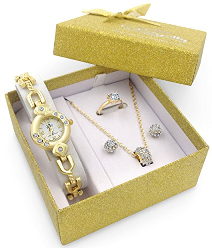 Gold Watch Jewelry Gift Matching Set