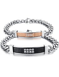 Konov Jewelry Cubic Zirconia Stainless Steel Couples Love Bracelet SetKonov Jewelry Cubic Zirconia Stainless Steel Couples Love Bracelet Set