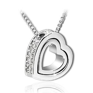 Marenja Gifts for Her-Eternal Love Double Hearts Pendant Necklace for Women