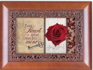 My Love Your Heart Faux Woodgrain Petite Rose Music Jewelry Box Plays Unchained Melody